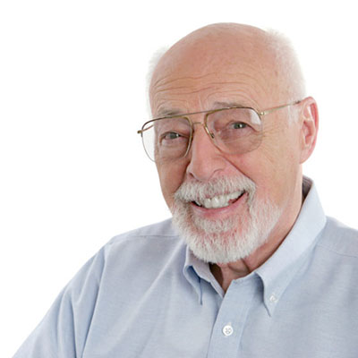 Old man smiling teeth